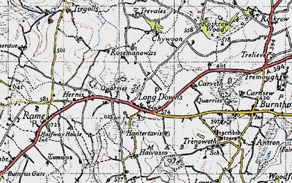 Old map of Longdowns in 1946