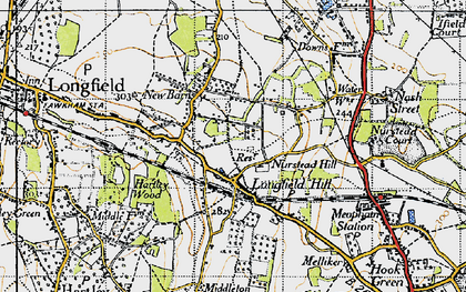 Old map of Longfield Hill in 1946