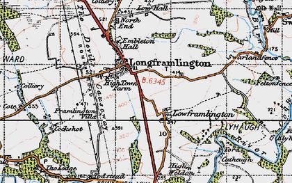 Old map of Longframlington in 1947