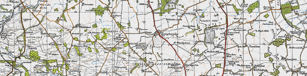 Old map of Todburn Moor in 1947