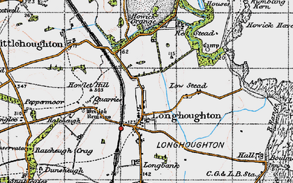 Old map of Longhoughton in 1947