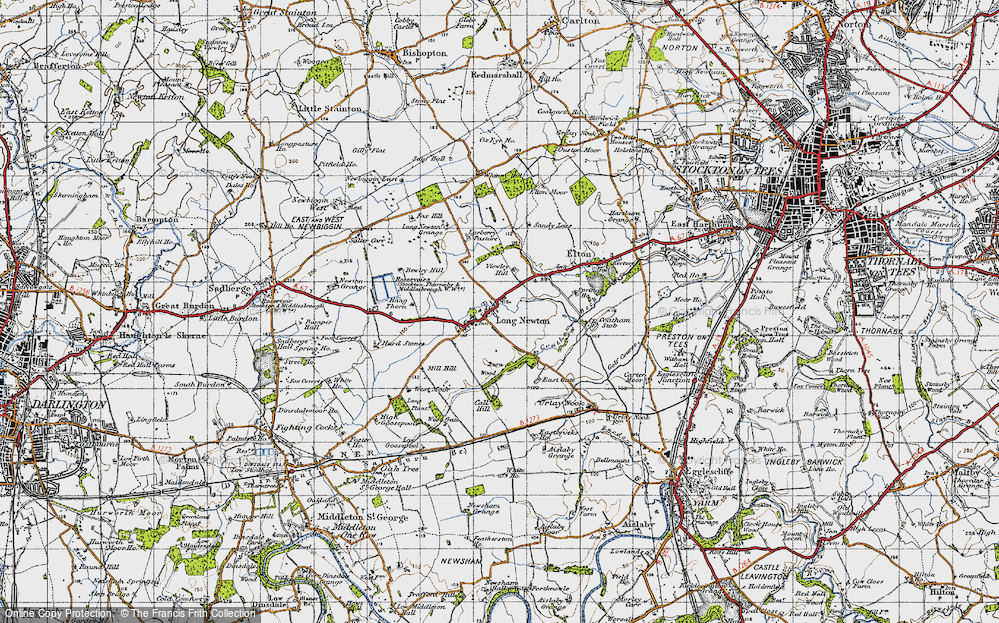 Old Map of Historic Map covering Larberry Pastures in 1947