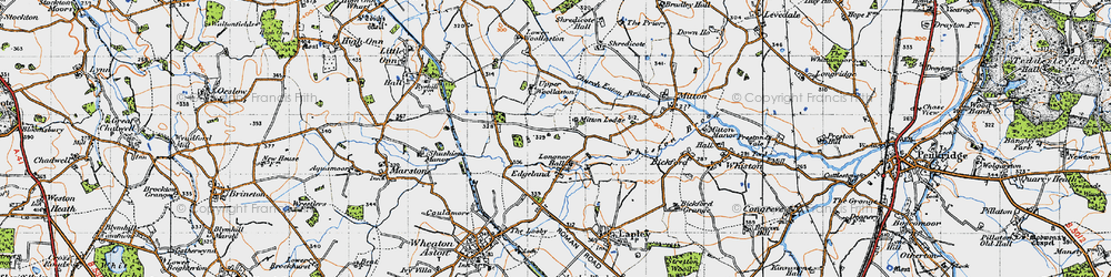 Old map of Whiston Brook in 1946
