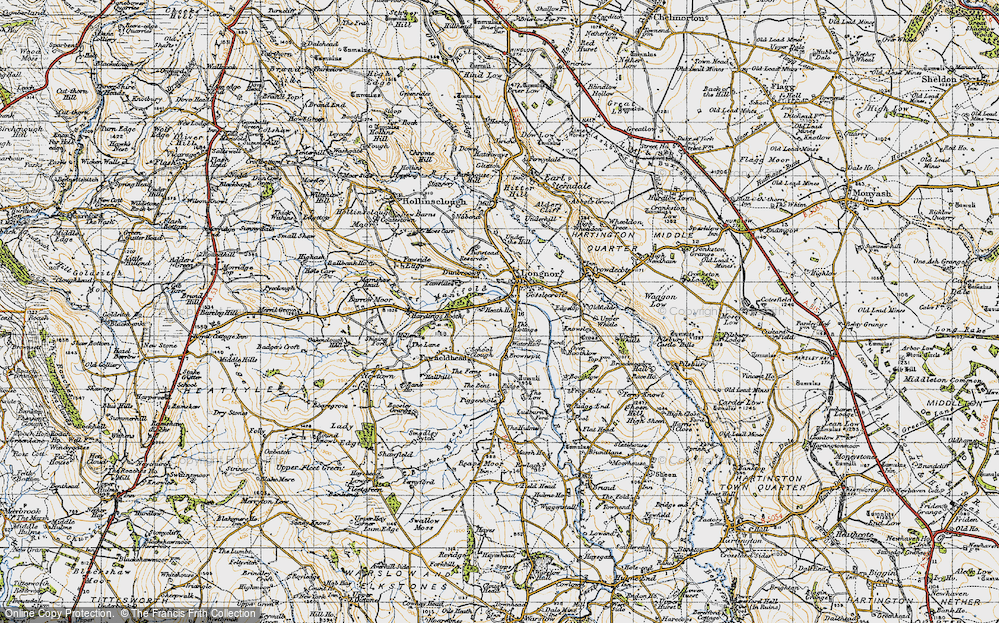 Old Map of Longnor, 1947 in 1947