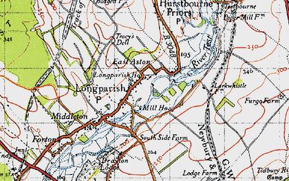 Old map of Longparish in 1945