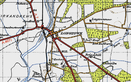 Old map of Longtown in 1947