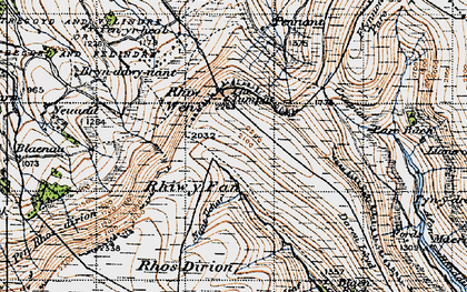 Old map of Afon Honddu in 1947