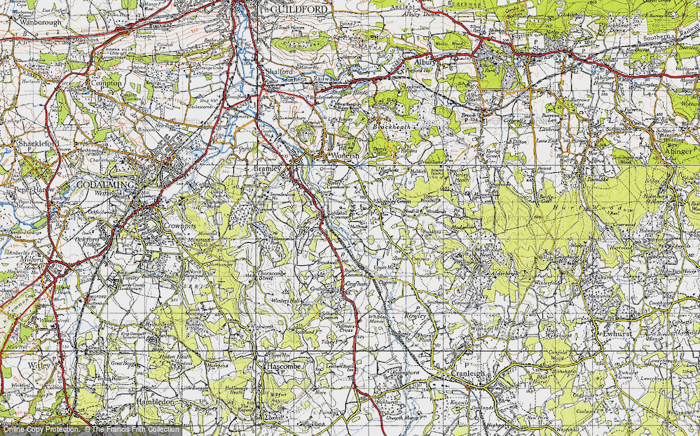 Old Map of Historic Map covering Woodhill in 1940