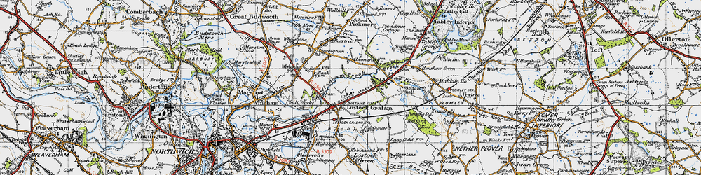 Old map of Wincham Brook in 1947