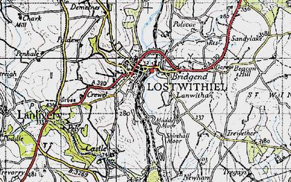 Old map of Lostwithiel in 1946