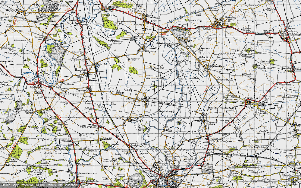 Old Map of Historic Map covering Ling Hurst Lakes in 1947