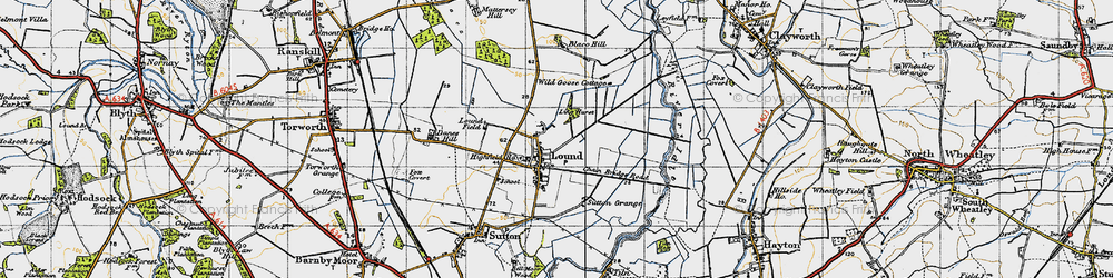 Old map of Ling Hurst Lakes in 1947