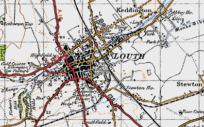 Old map of Louth in 1946