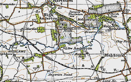 Old map of Low Angerton in 1947