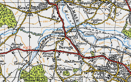 Old map of Low Barugh in 1947