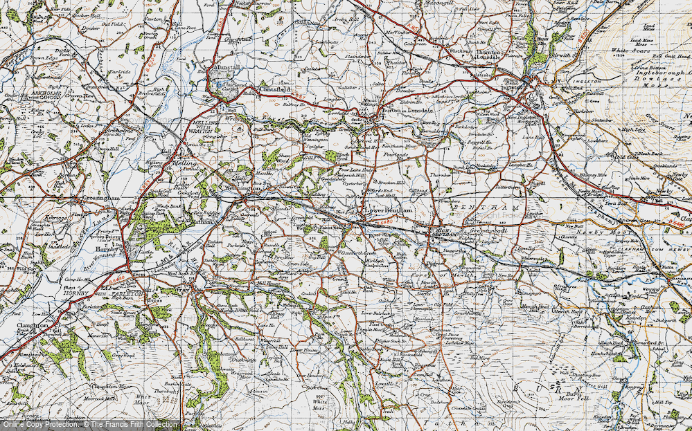 Old Map of Historic Map covering Ashleys in 1947