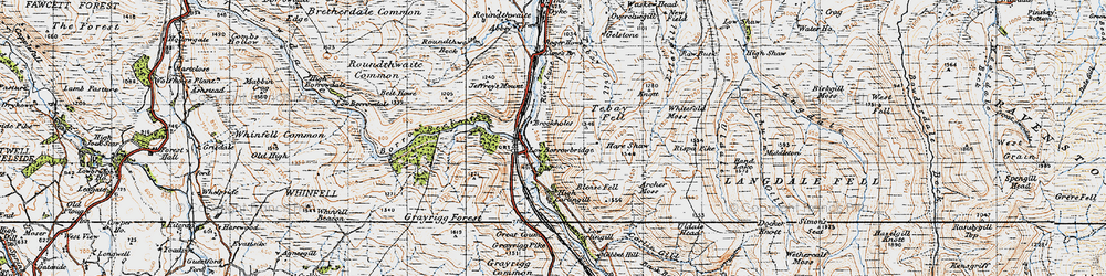 Old map of Whitefold Moss in 1947