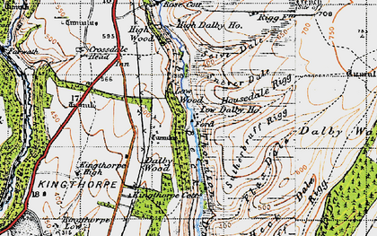 Old map of Low Dalby in 1947