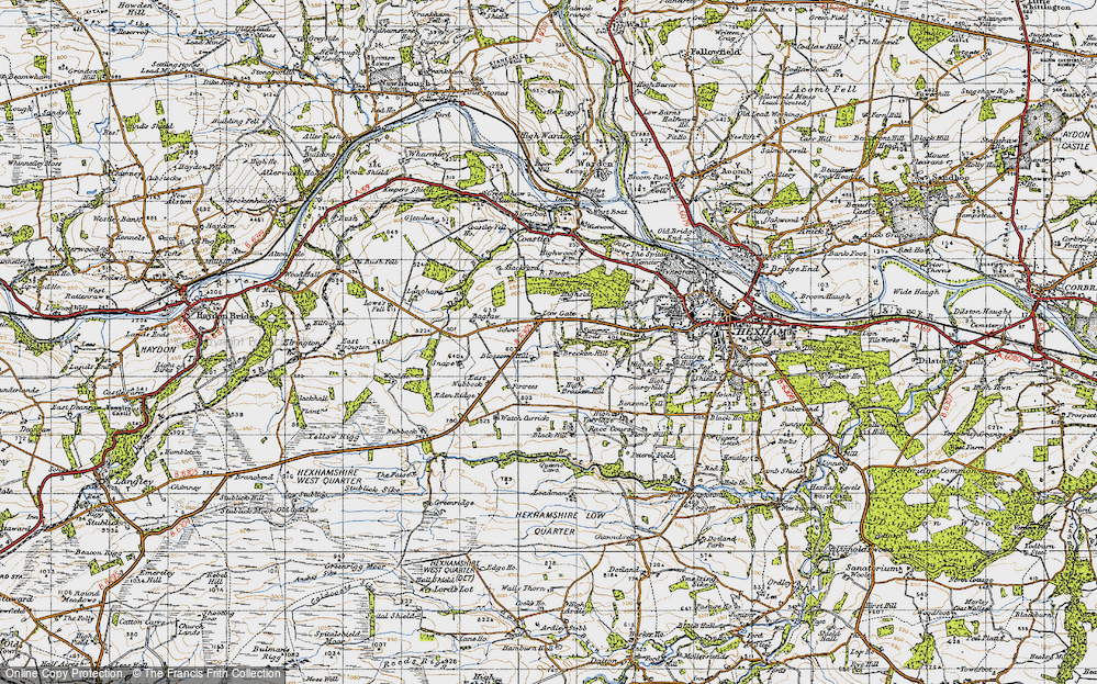 Old Map of Historic Map covering Leazes in 1947