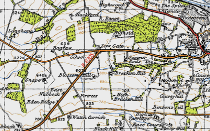 Old map of Leazes in 1947