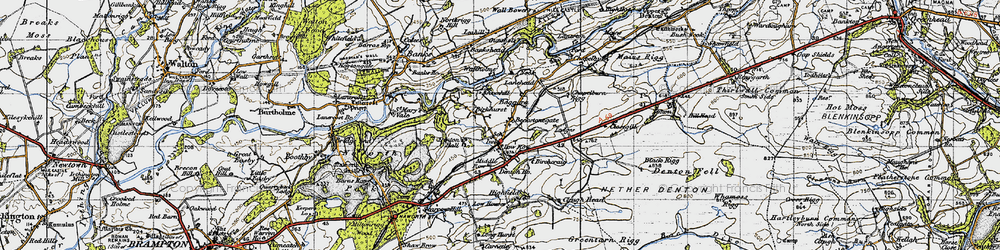 Old map of Allieshaw Rigg in 1947