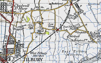 Old map of West Tilbury Marshes in 1946
