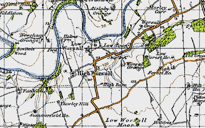 Old map of Worsall Grove in 1947