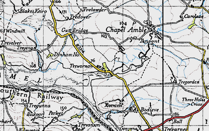 Old map of Lower Amble in 1946