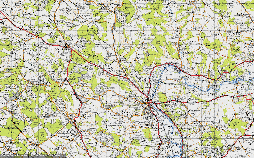 Old Map of Historic Map covering Badgemore Ho in 1947