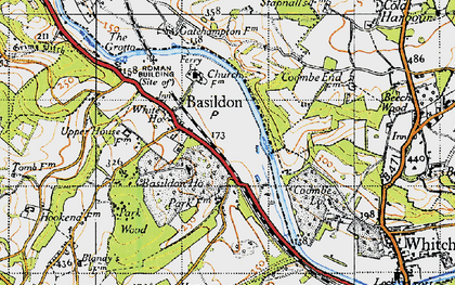 Old map of Lower Basildon in 1947