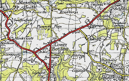 Old map of Lower Beeding in 1940