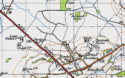 Old map of Ashmead Brake in 1947