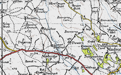 Old map of Lower Bodinnar in 1946