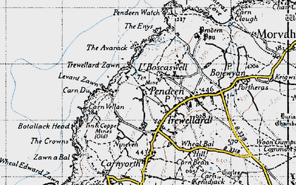 Old map of Levant Zawn in 1946