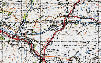 Old map of Lower Brynamman in 1947