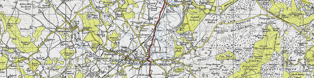 Old map of Lower Burgate in 1940