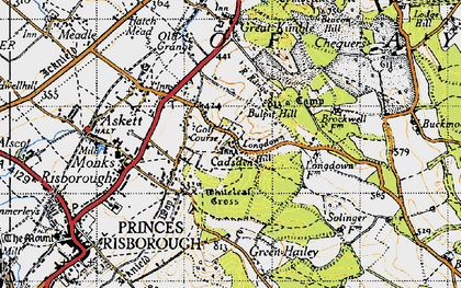 Old map of Whiteleaf Cross in 1947