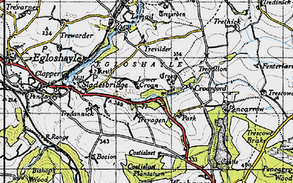 Old map of Lower Croan in 1946
