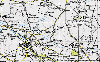 Old map of Lower Denzell in 1946