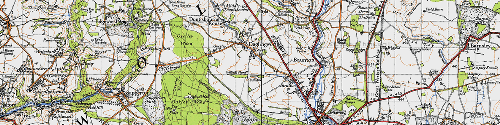 Old map of Alfred's Hall in 1947