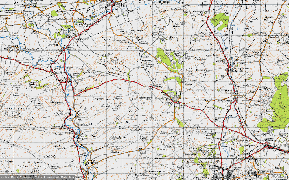 Old Map of Historic Map covering Lidbury Camp in 1940