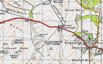 Old map of Baden's Clump in 1940