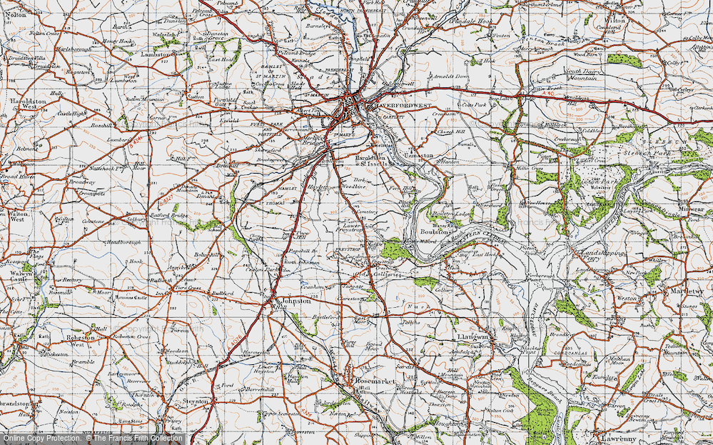 Old Map of Historic Map covering Woodbine in 1946