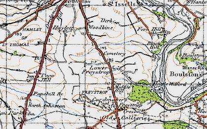 Old map of Woodbine in 1946