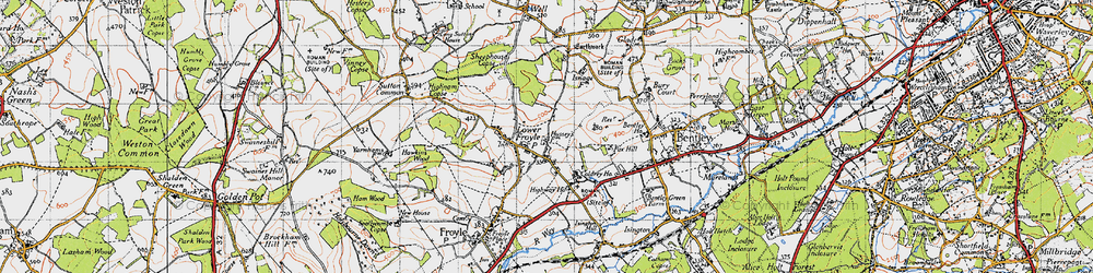 Old map of Lower Froyle in 1940