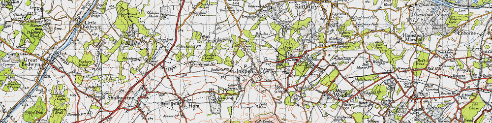 Old map of Anville's Copse in 1945