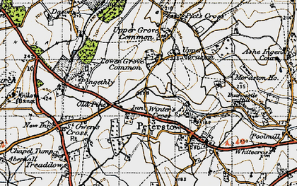 Old map of Winter's Cross in 1947