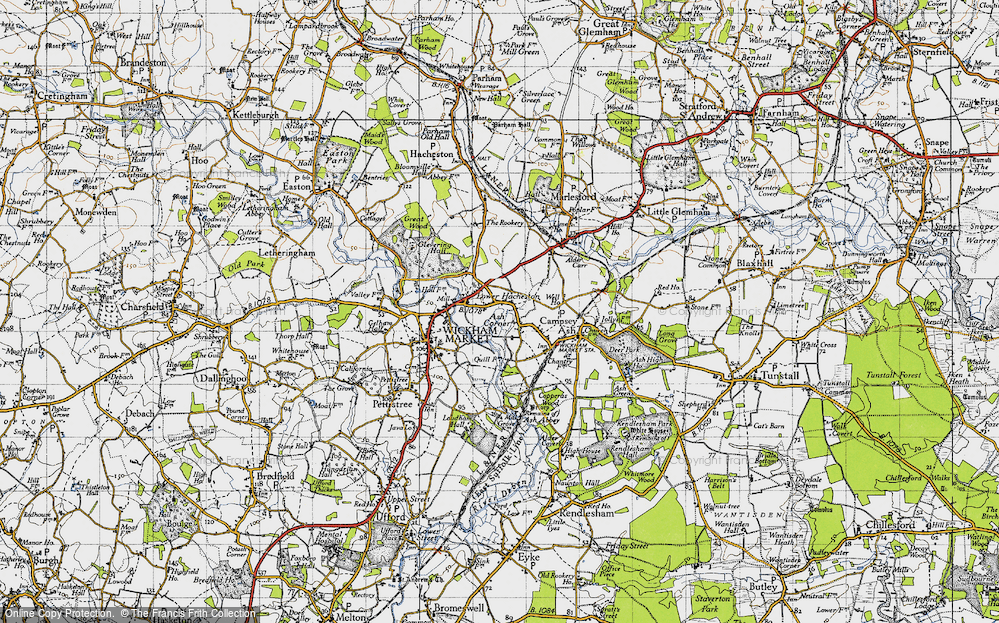 Old Map of Historic Map covering Ash Corner in 1946