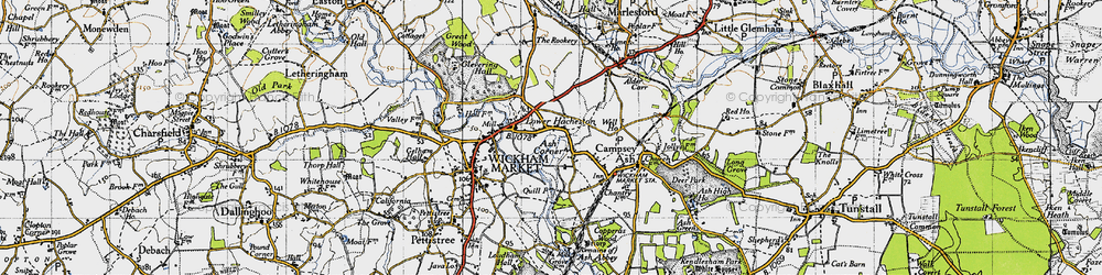 Old map of Wickham Market Sta in 1946