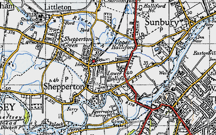 Old map of Lower Halliford in 1940